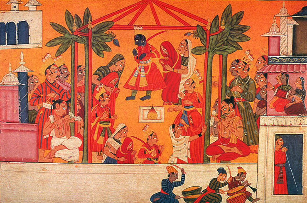 The marriage of the four sons of Dasharatha with the four daughters of Siradhvaja and Kushadhvaja Janakas, 1750