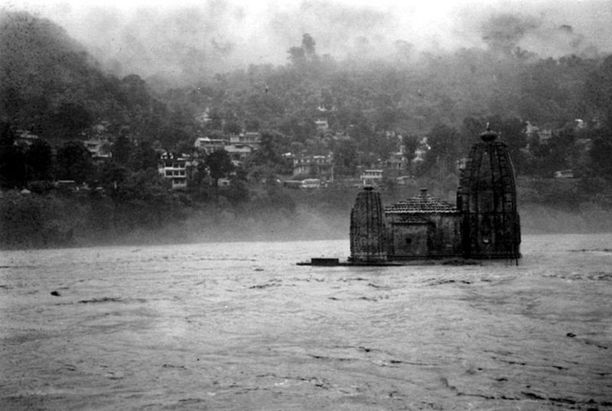 Panchvaktra Temple at the confluence of river Beas and Suketi. During monsoons the water maroons this protected monument