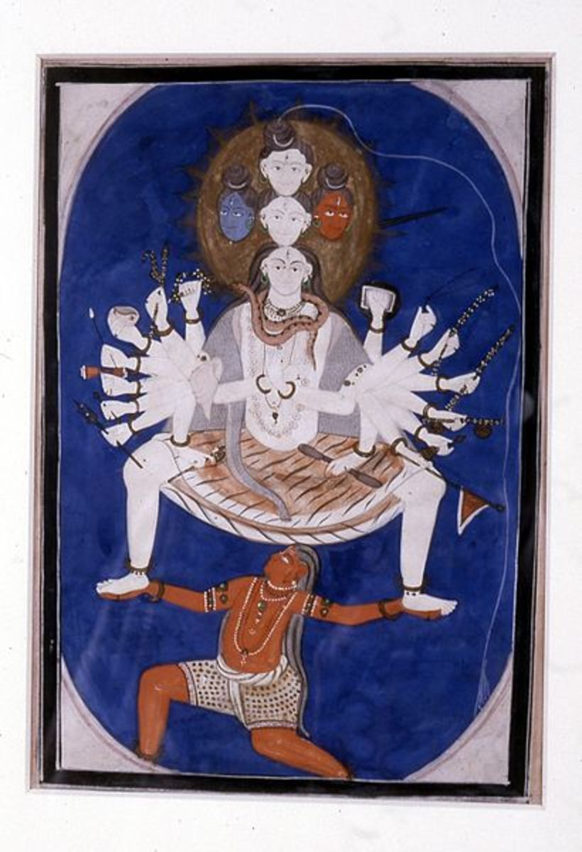 The cosmic Shiva, portrayal of an unusual dancing pose, between 1825 and 1850