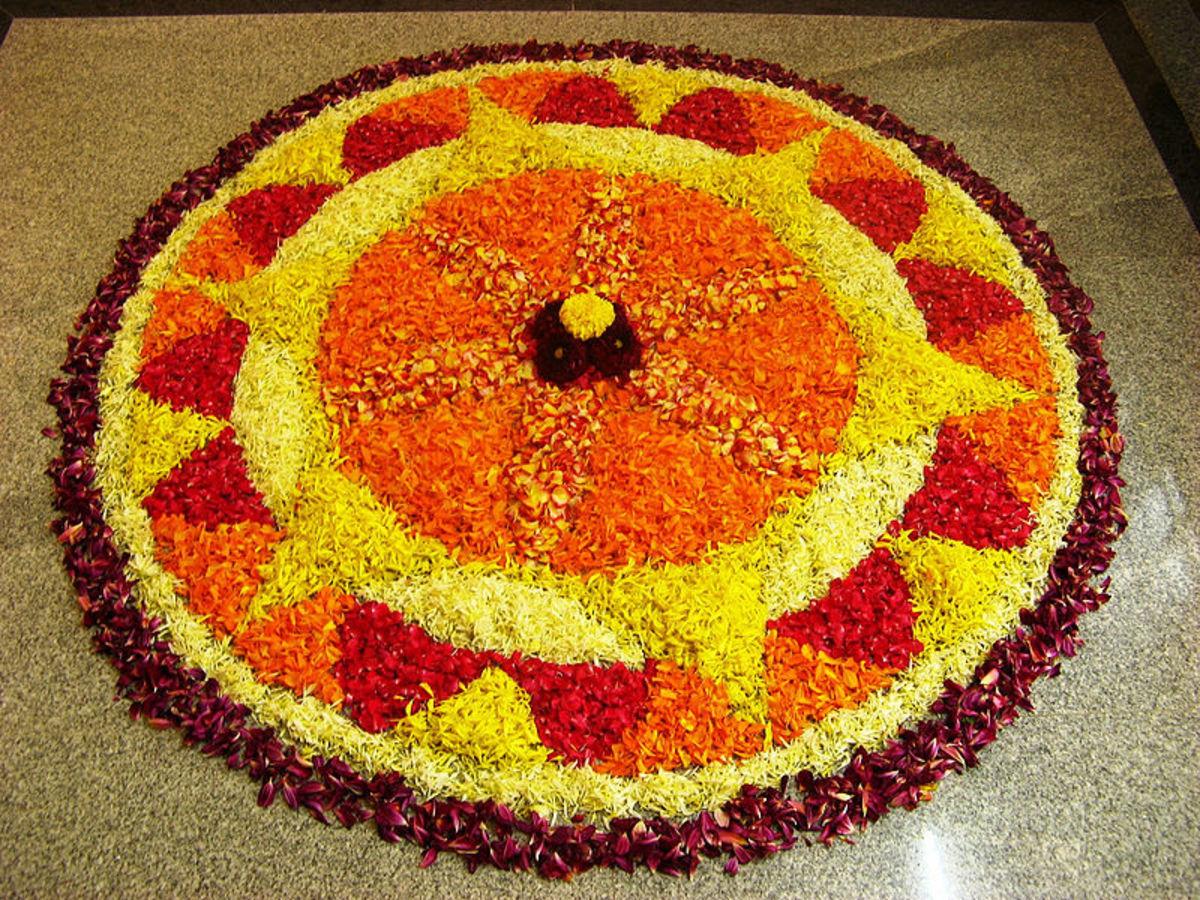 Pookalam, Onam Festival, Kerala.