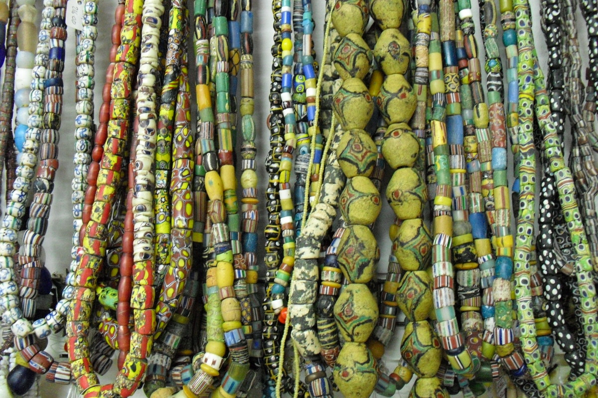 Strings of beads for sale in Ghana.