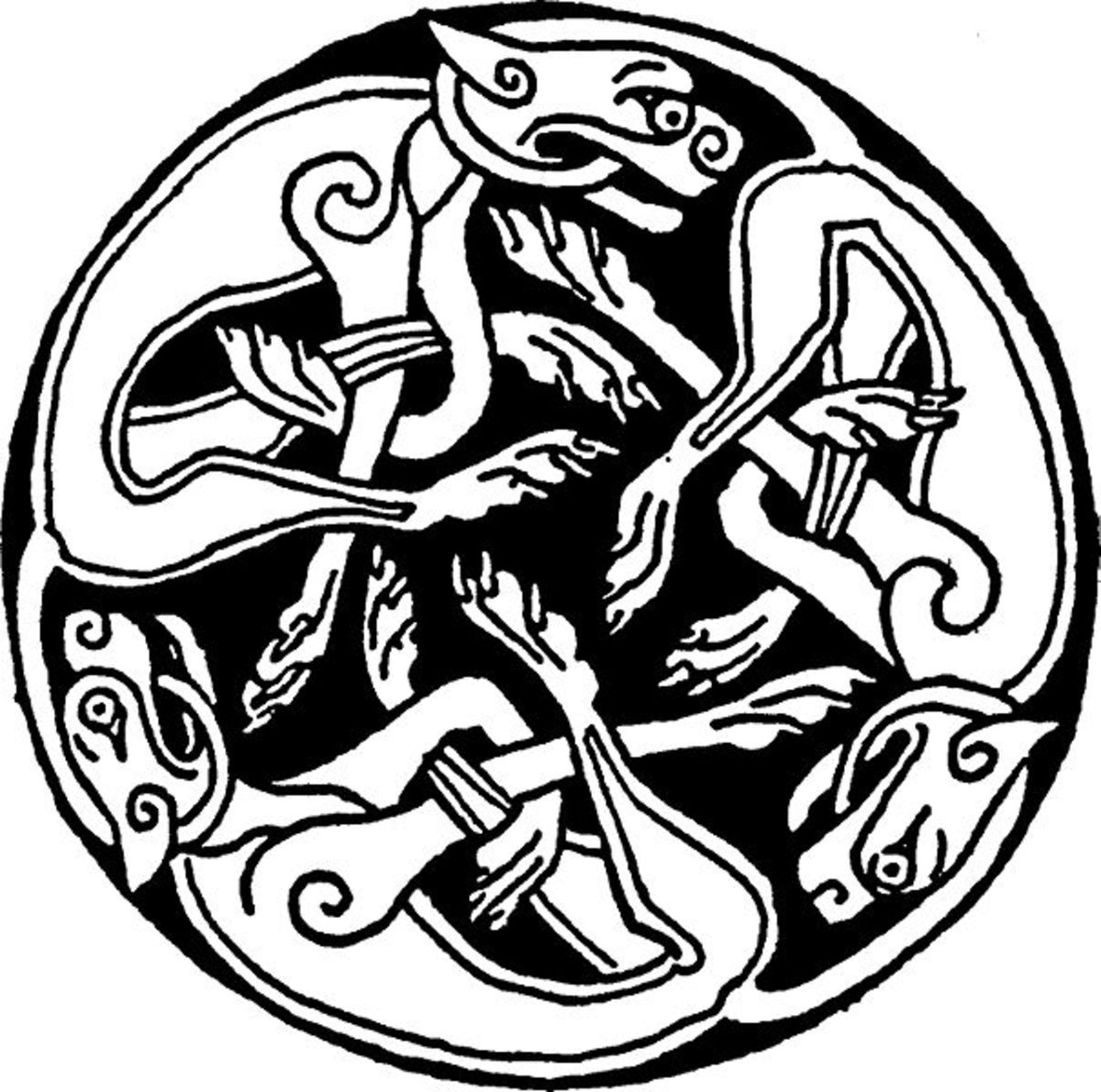 Another Celtic art form, the use of animal motifs in decorating brooches or ornamental earthenware became widespread - and was borrowed extensively by other cultures in the British Isles (Manx-Norse, for example)
