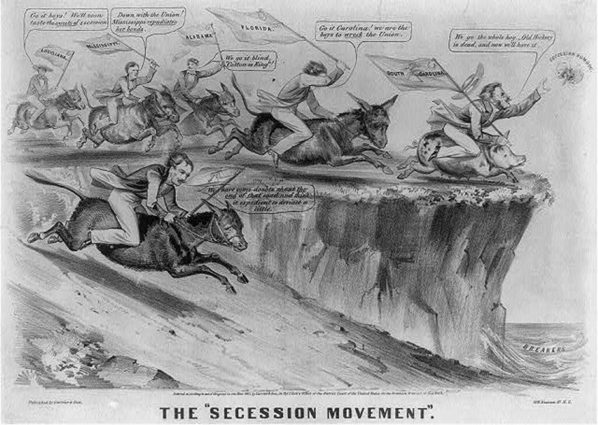 Cartoon - secessionists about to fall off a cliff