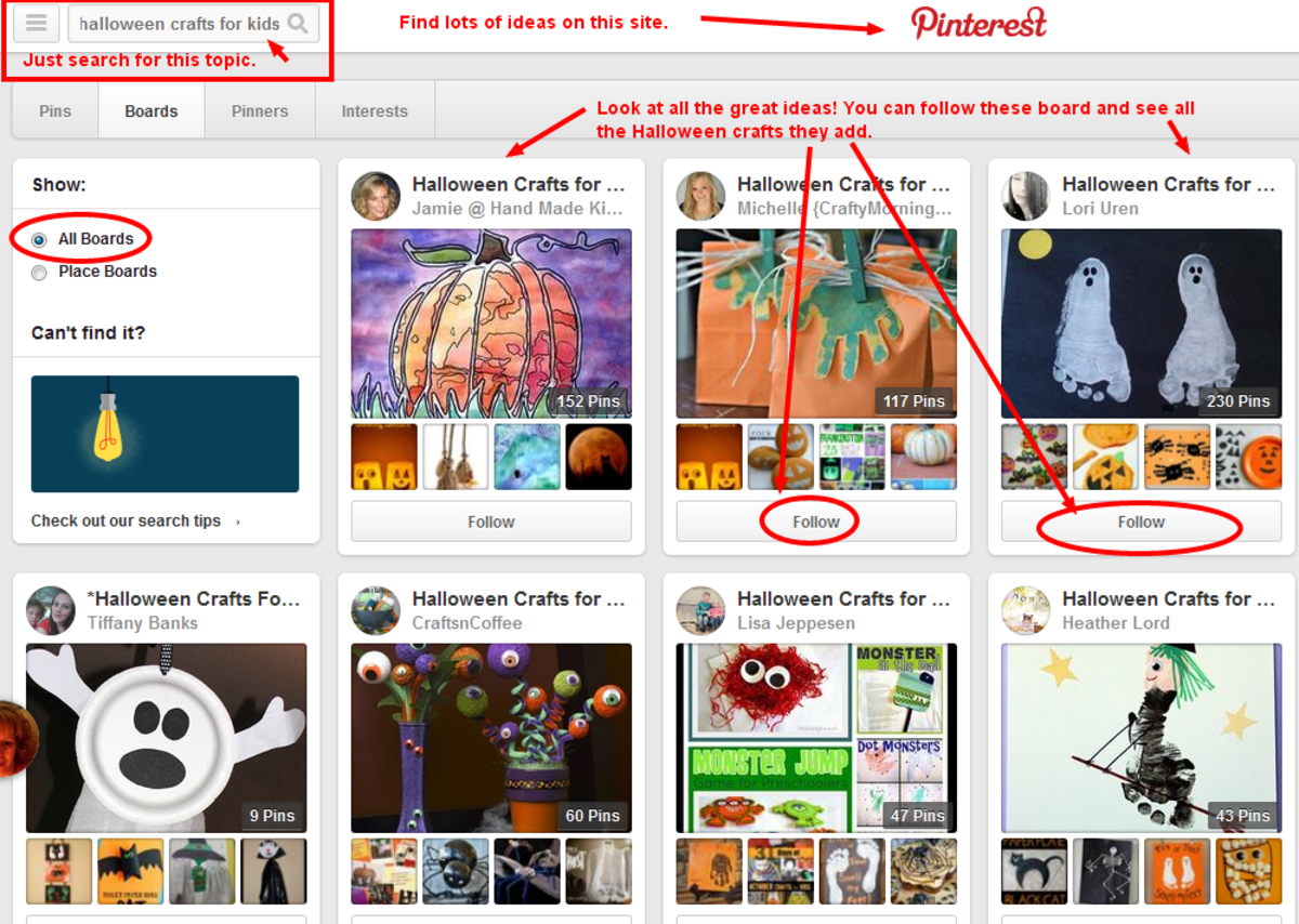 Find links to hundreds of crafty projects for kids on Pinterest
