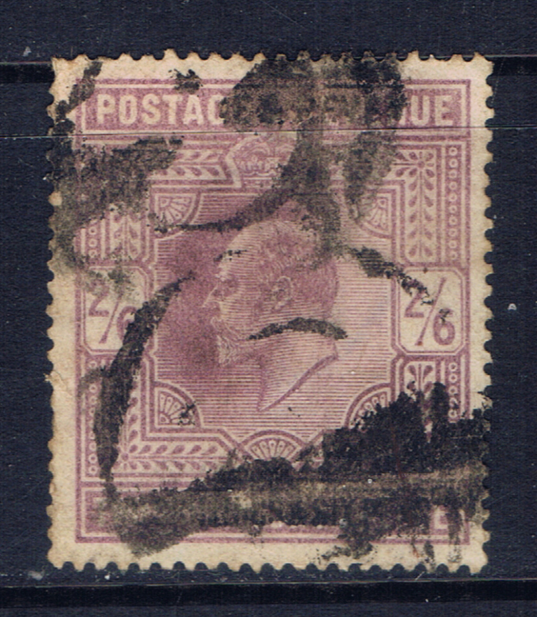 This stamp from Great Britain has a catalog value of $150 for a used copy.  However, this copy has a very heavy and messy cancel, and should sell at a huge discount.