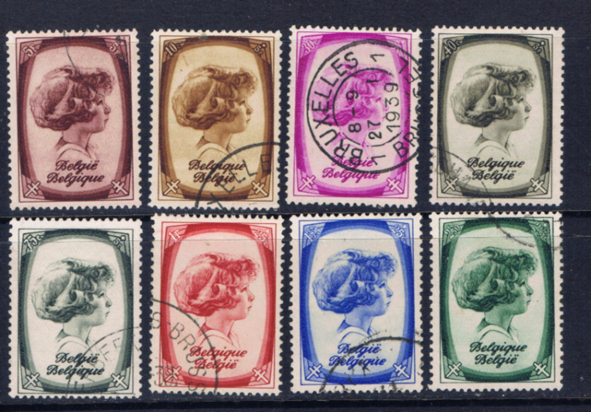 This set of stamps from Belgium is a complete set according to the Scott catalog.  A set may have two or more stamps with the same image, but a different denomination; or they may have different images with the same or different denominations.
