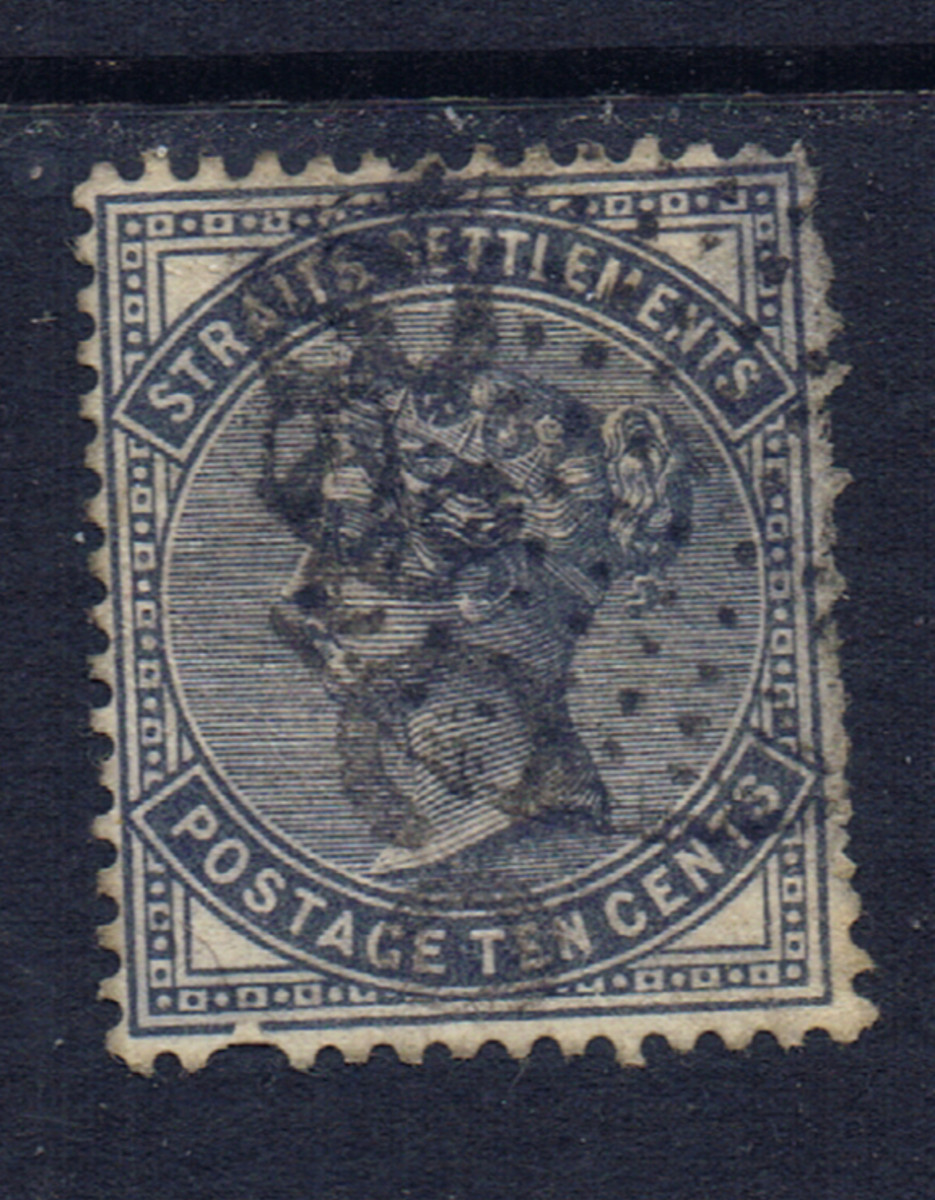 This stamp from Straits Settlements has several short perforations.  One on the bottom, and several on the right side.