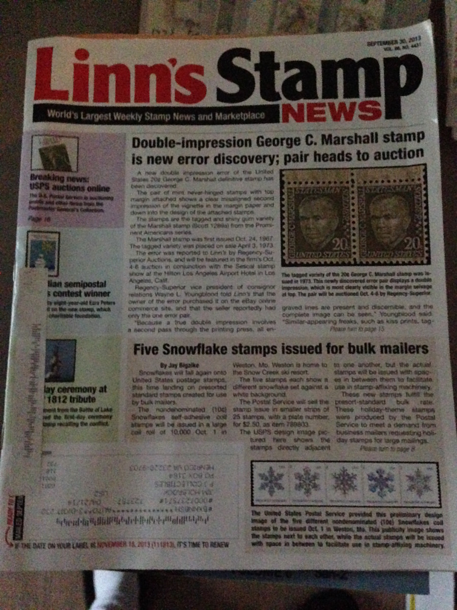 Recent issue of Linn's Stamp Weekly.  Linn's also has a monthly publication in magazine form.