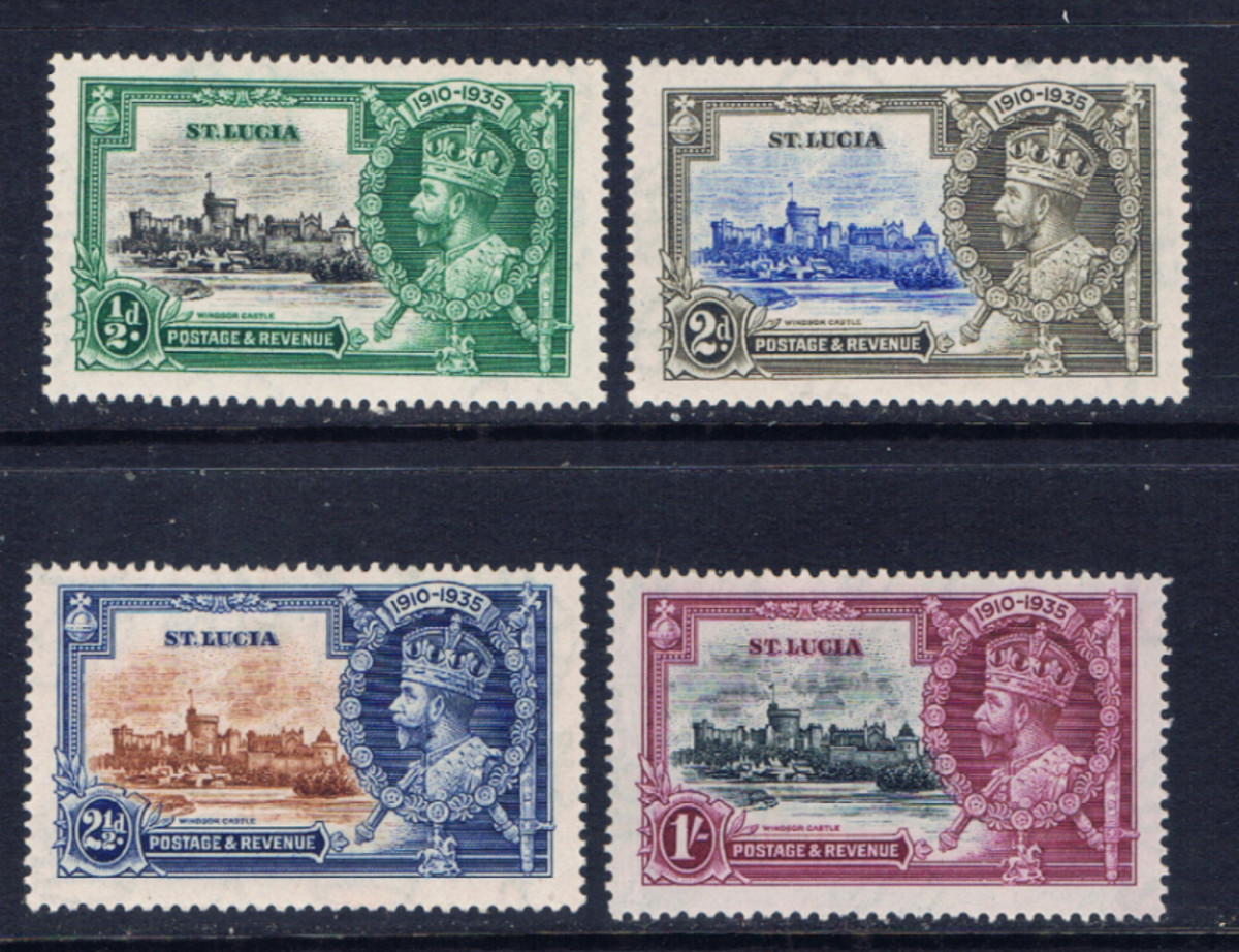 Set of stamps issued in 1935 by St. Lucia commemorating the Silver Jubilee of the reign of King George V of England.  Most members of the British Commonwealth issued a similar set of stamps.