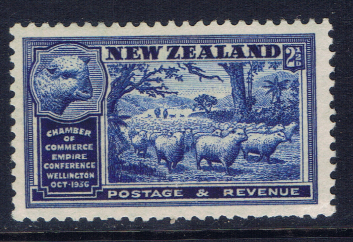 This stamp from New Zealand is an example of good centering of the stamp's image.
