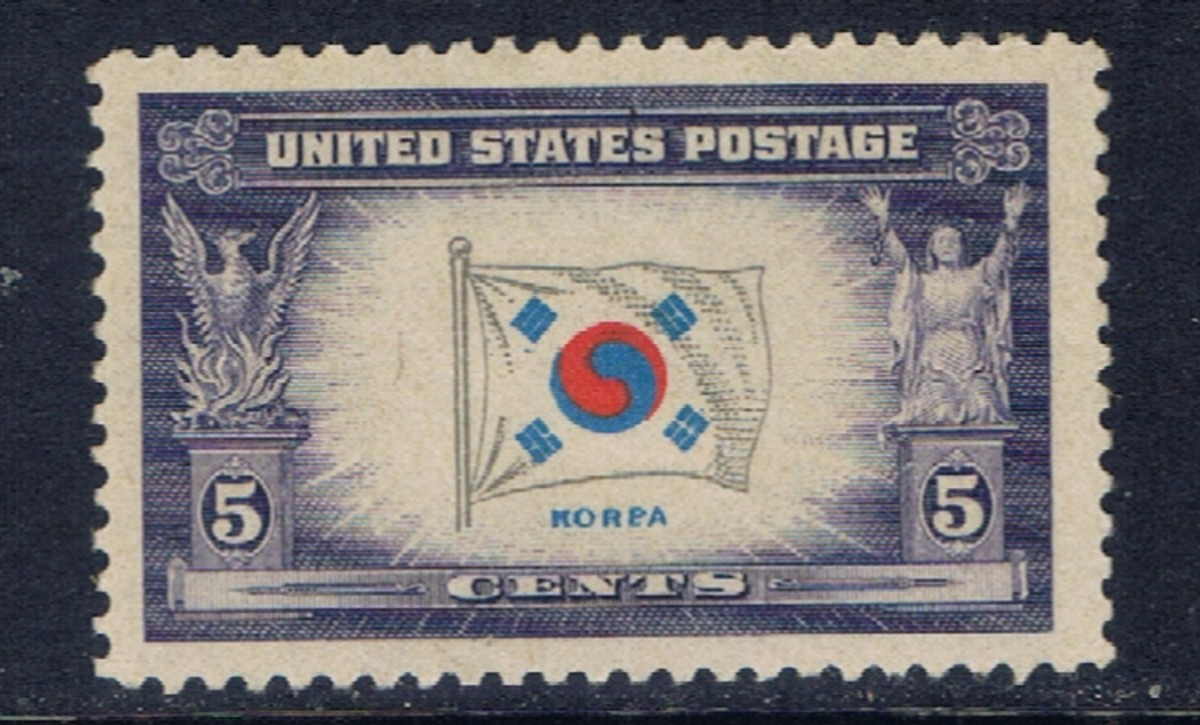 "This U.S. stamp is an example of a printing error.  The name under the flag should be ""Korea"", but has a plate flaw that makes it into ""Korpa""."