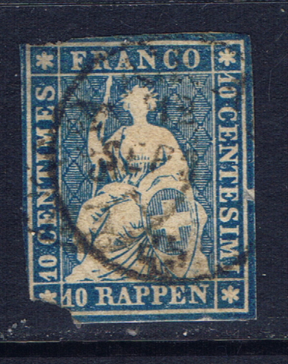 This early stamp from Switzerland is damaged.  The lower left corner is missing.  Older stamps that are hard to get may be collectible even in this condition.  But price should be very low relative to catalog value.