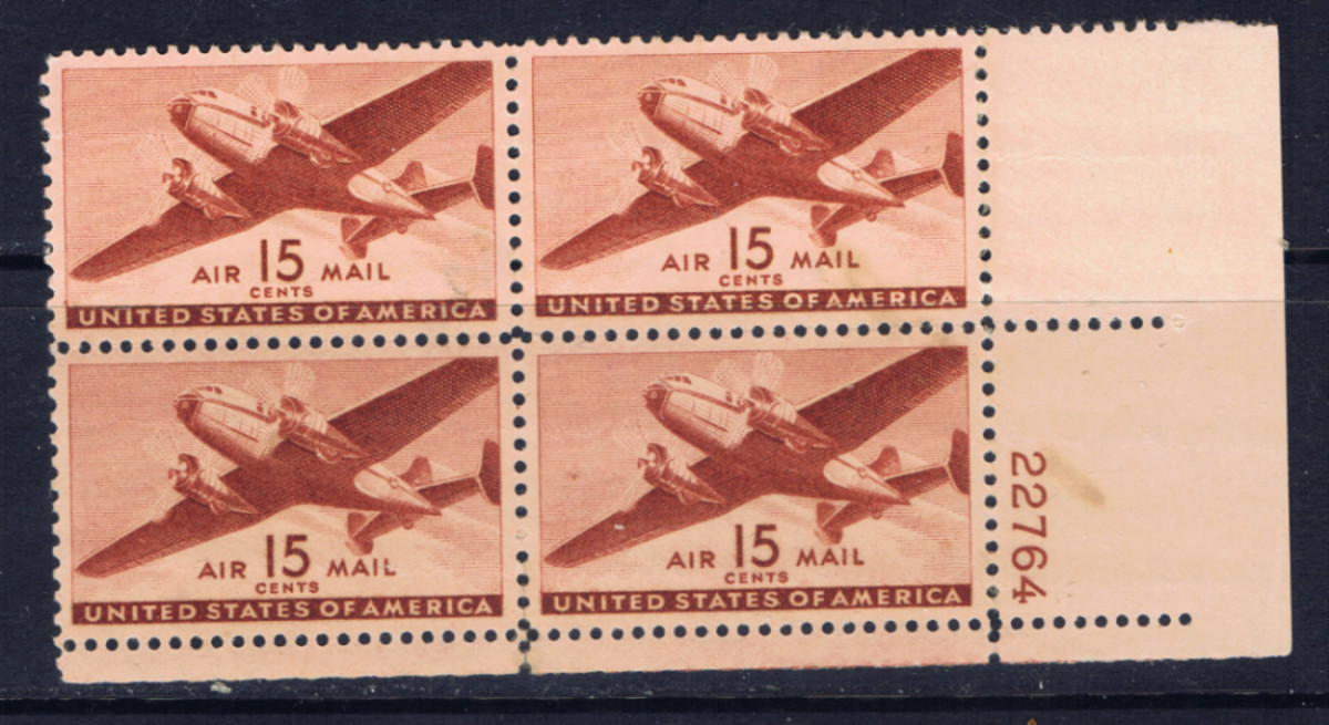 This is another airmail stamp from U.S. issued in 1941.  This is a plate block of 4, which is a corner block with the Plate Number in the margin.