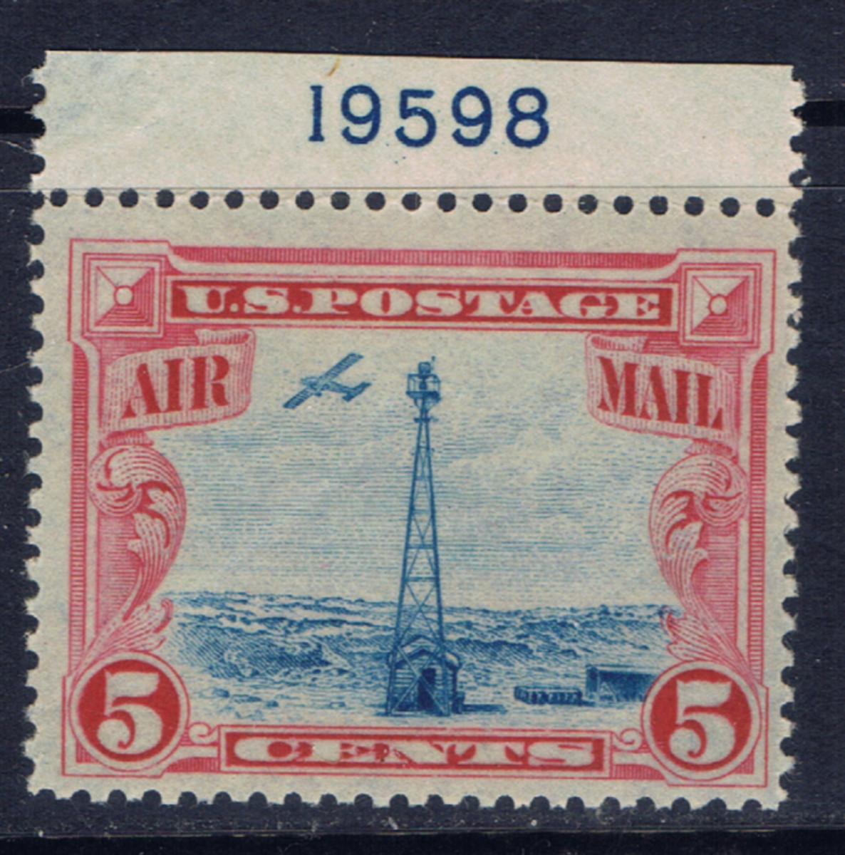 U.S. airmail stamp issued in 1928 shows an airplane and a beacon in the Rocky Mountains.  Because of the way the sheet of stamps was printed the blue center can be shifted in relation to the red design.
