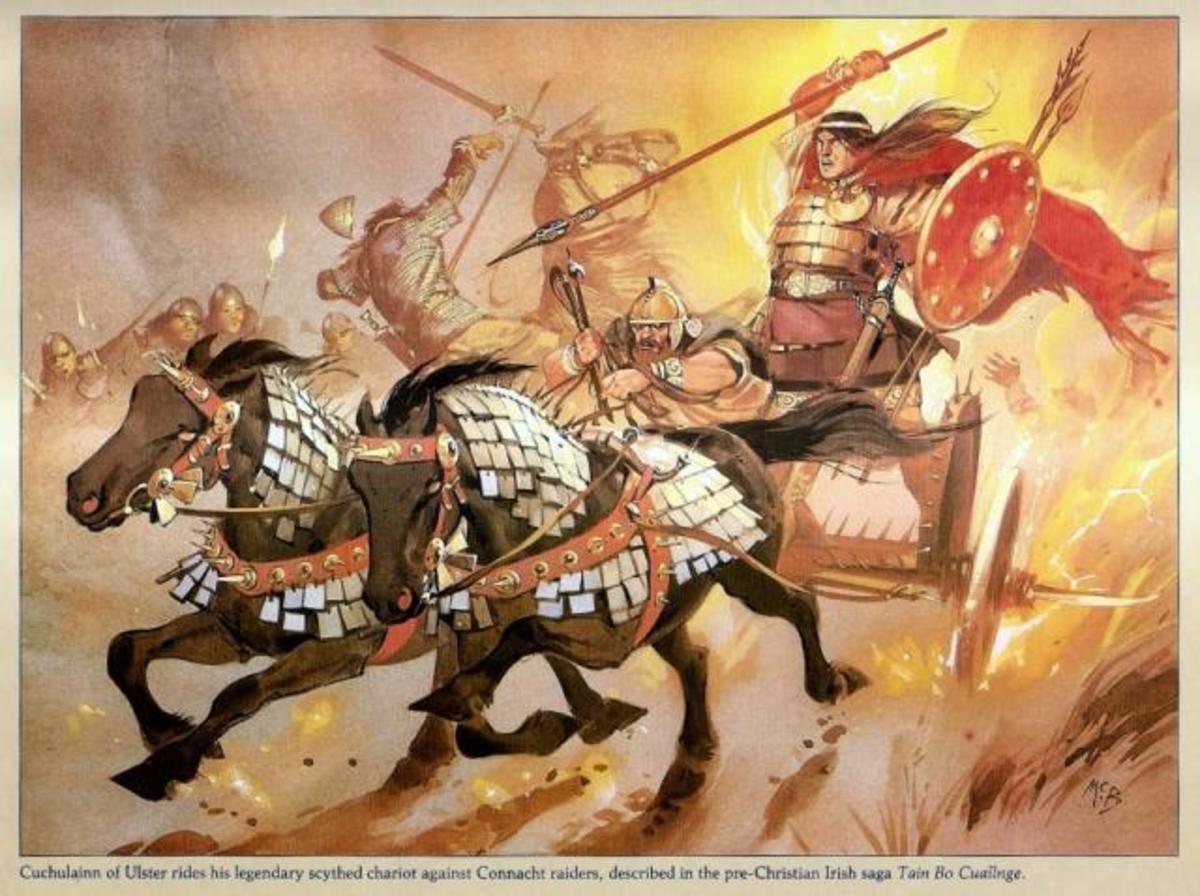 Cuchulainn on his war chariot, battling gods and demons