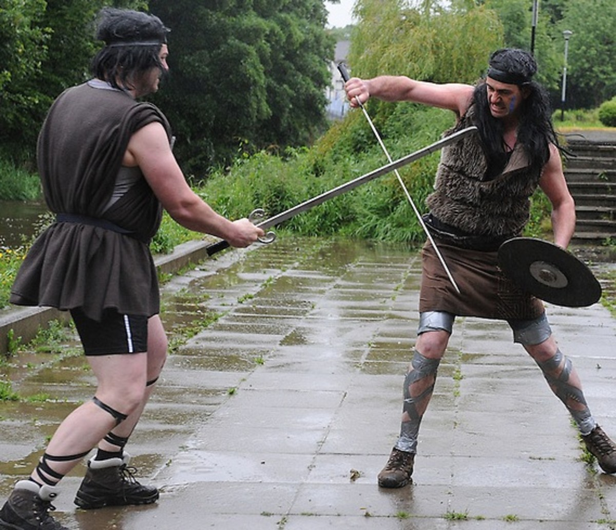 Re-enactment of Cuchulainn in combat with Connlai