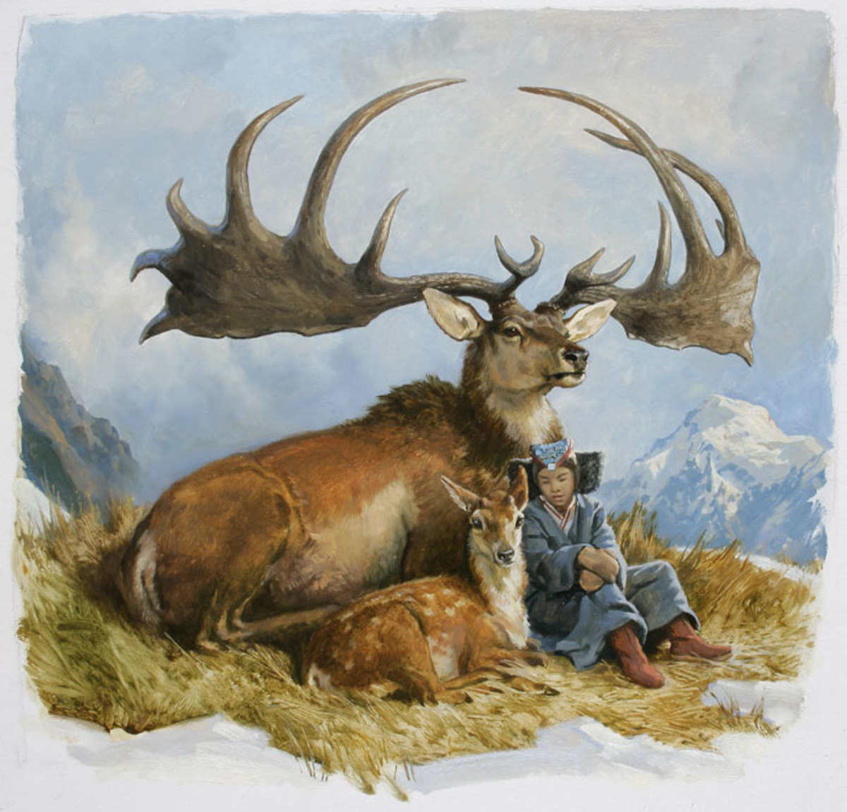 A painting by James Gurney depicting the difference in size between an Irish Elk and a person.