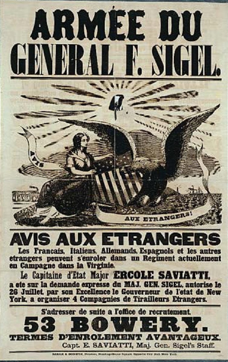 A poster, in French, seeking volunteers for a unit consisting of mostly European immigrants