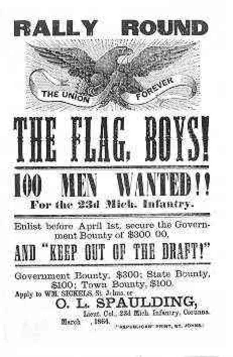 A poster that sought 100 volunteers for a Michigan unit.