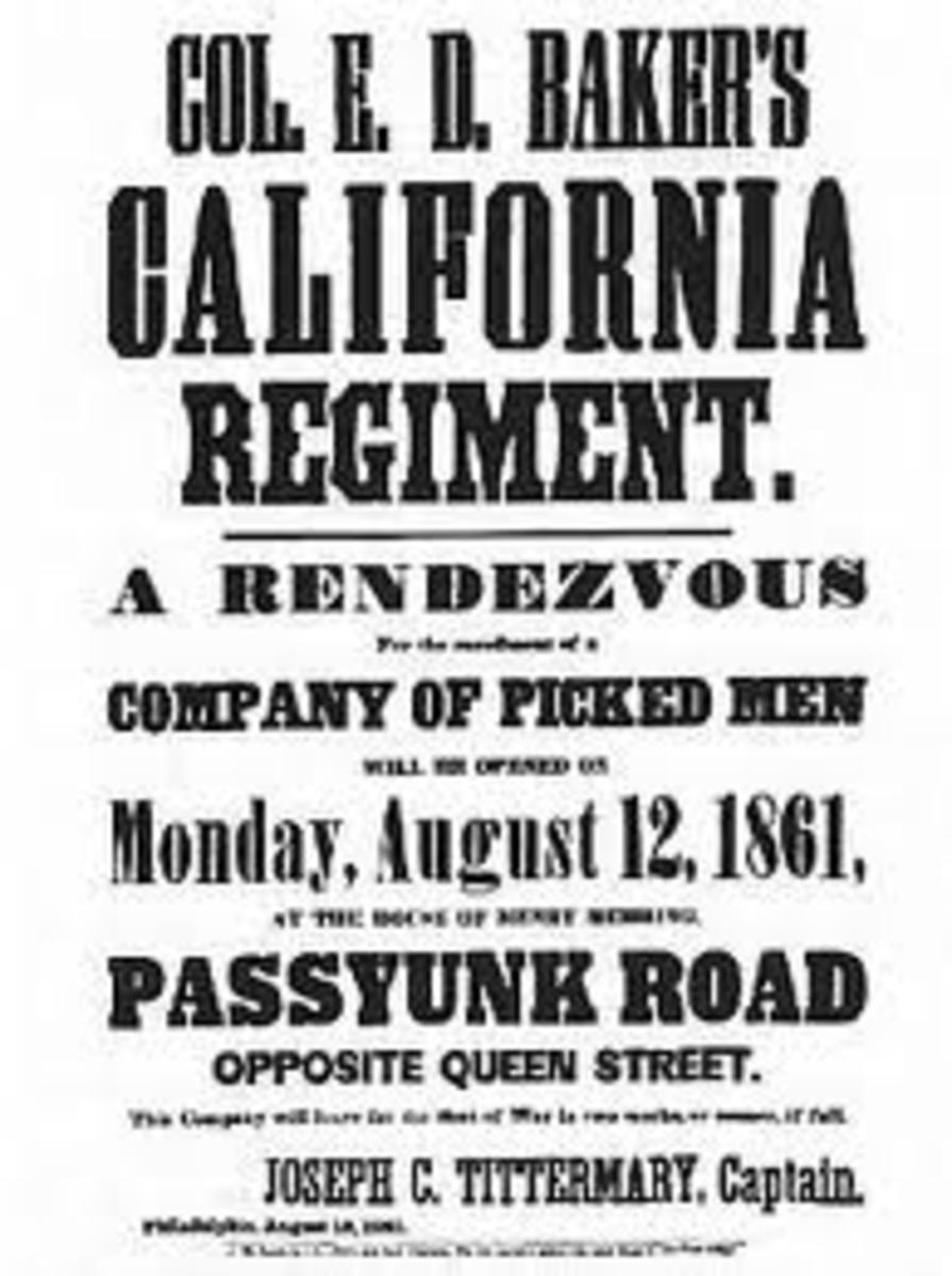 A poster advertising the recruitment of volunteers for the California Regiment