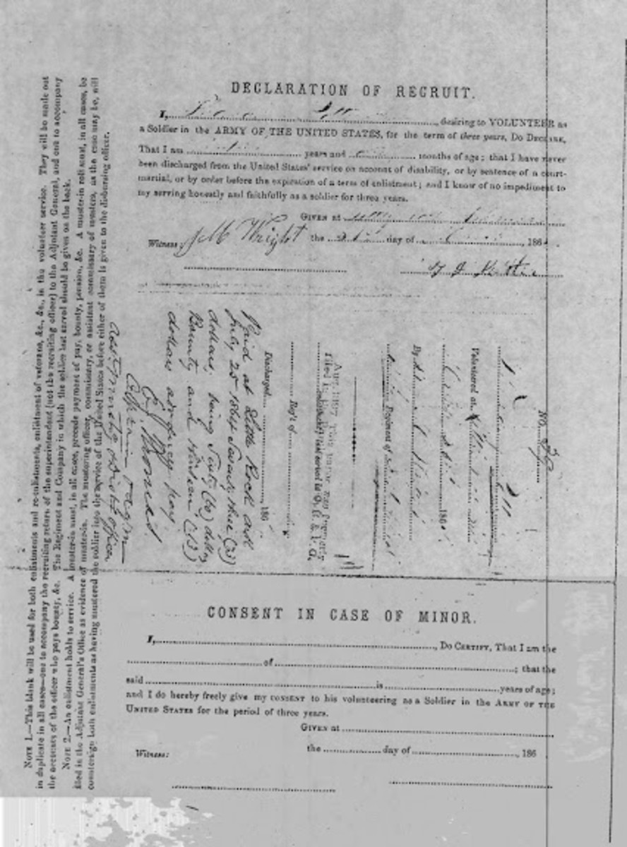 An example of a Declaration of Recruit. Note the Consent in case of Minor section at the bottom.