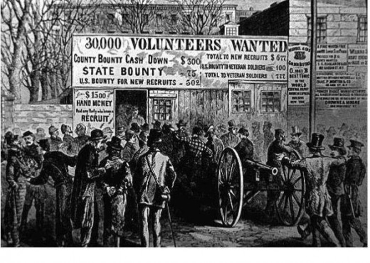 An illustration mocking the Union's desperation in recruitment - those illustrated were from an insane asylum. The artist was Adalbert Volck.