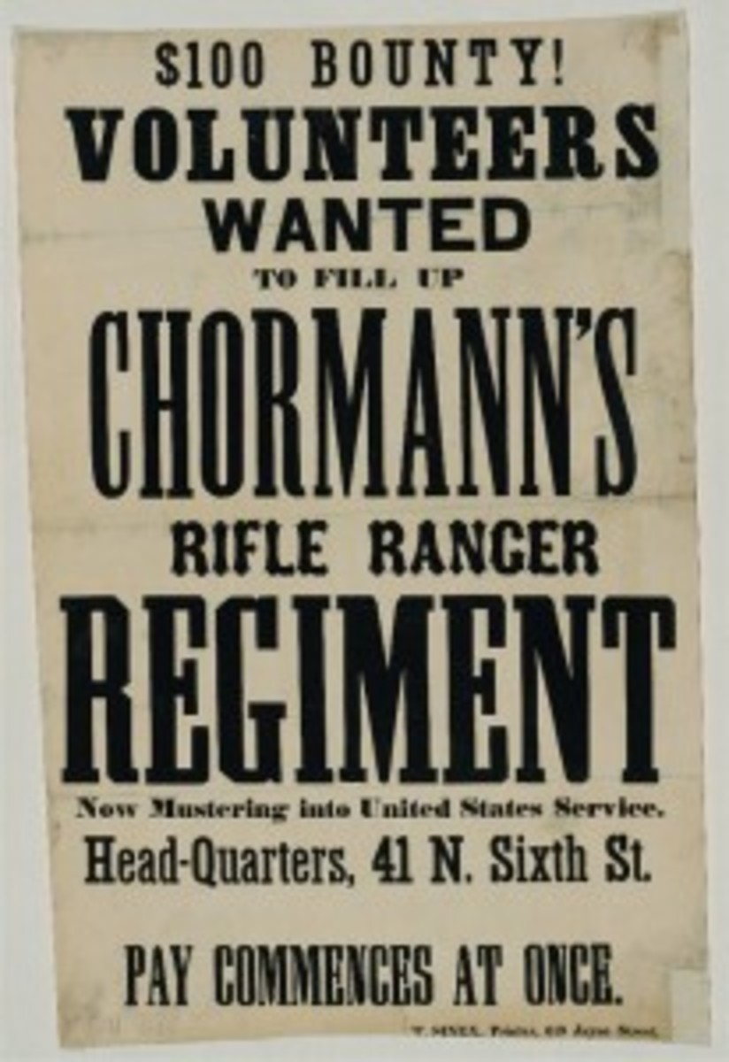 A poster advertising the need for volunteers for the colorfully named Chormann's Rifle Ranger Regiment