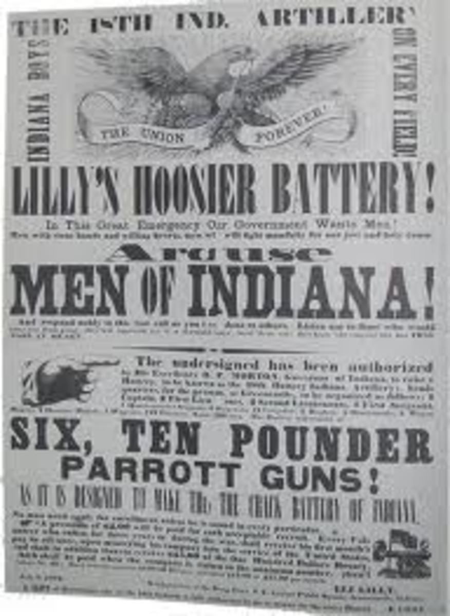A poster advertising the need for volunteers for an Indiana artillery unit