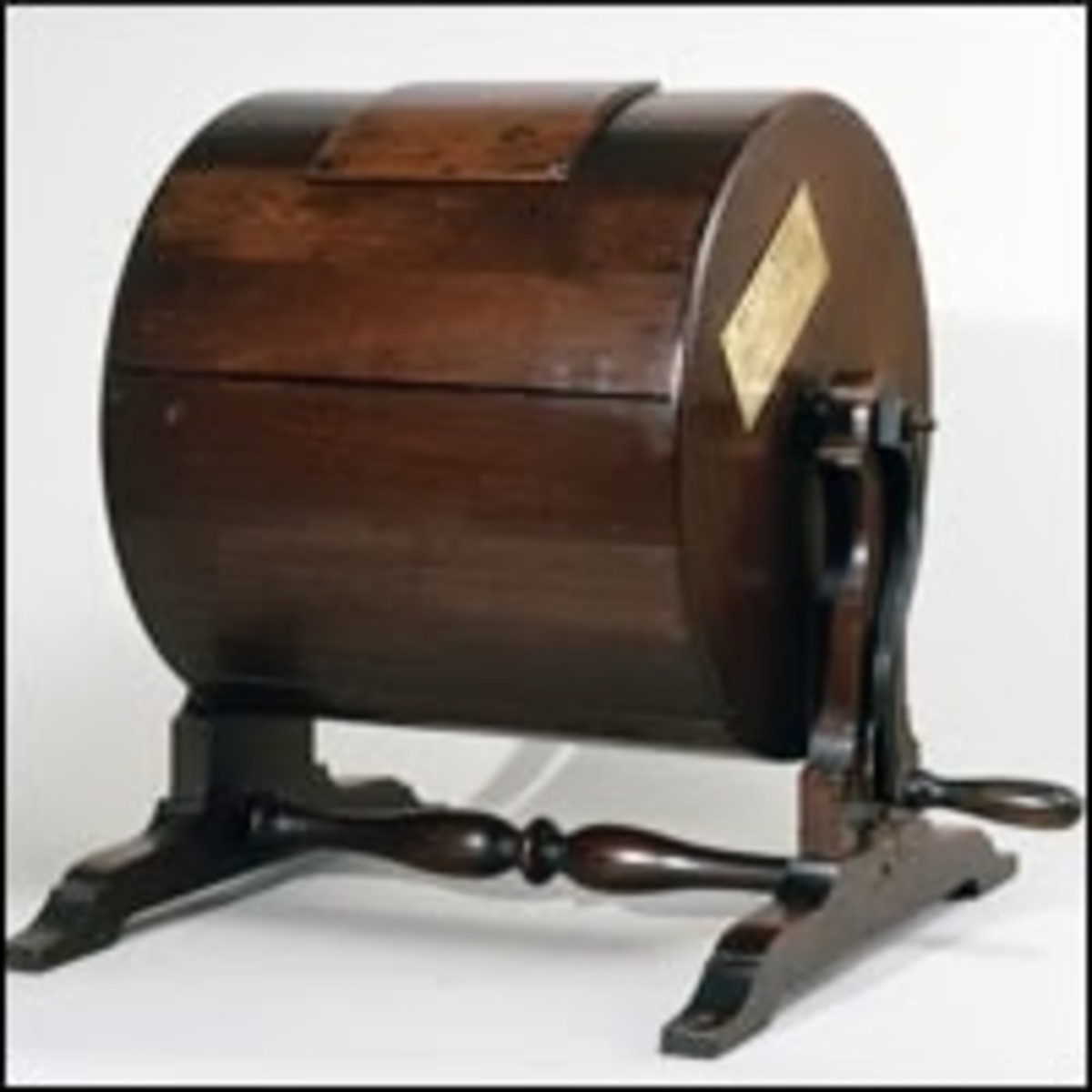 """A Draft Wheel. Names of eligible men were placed inside, and the wheel was then turned several times. The men whose names were then drawn were considered """"conscripted"""" or """"drafted""""."""