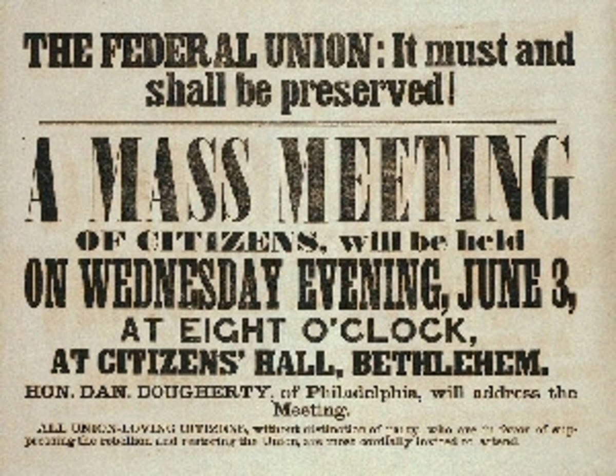 A poster advertising a mass meeting in support of the Union