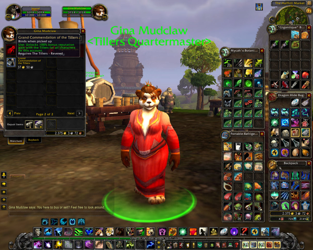 Gina Mudclaw (Tillers Quartermaster) sells items to Revered or Exalted players.