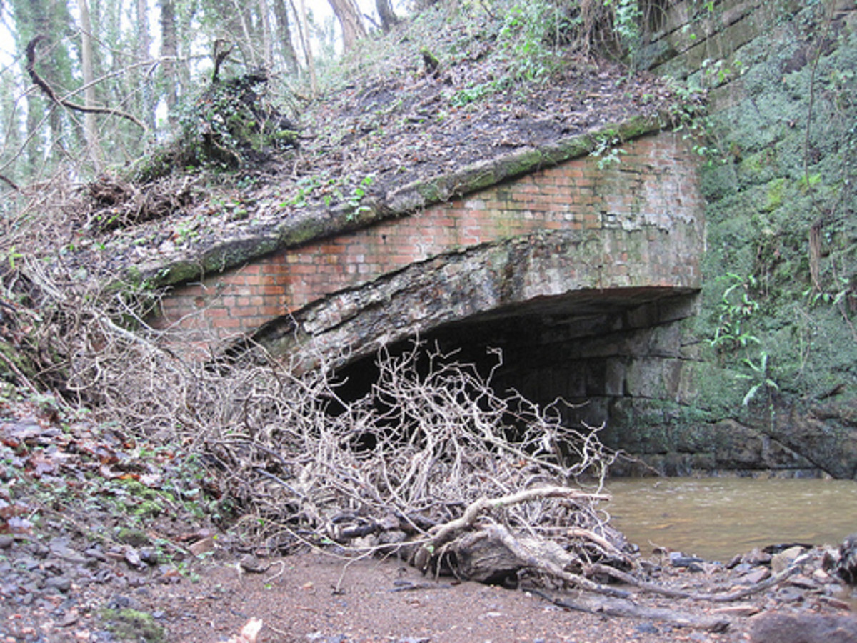 An old culvert at Waterfall/Spawood Mine, laid in on a slope against a retaining wall, and now overgrown amid woodland to the east of Guisborough