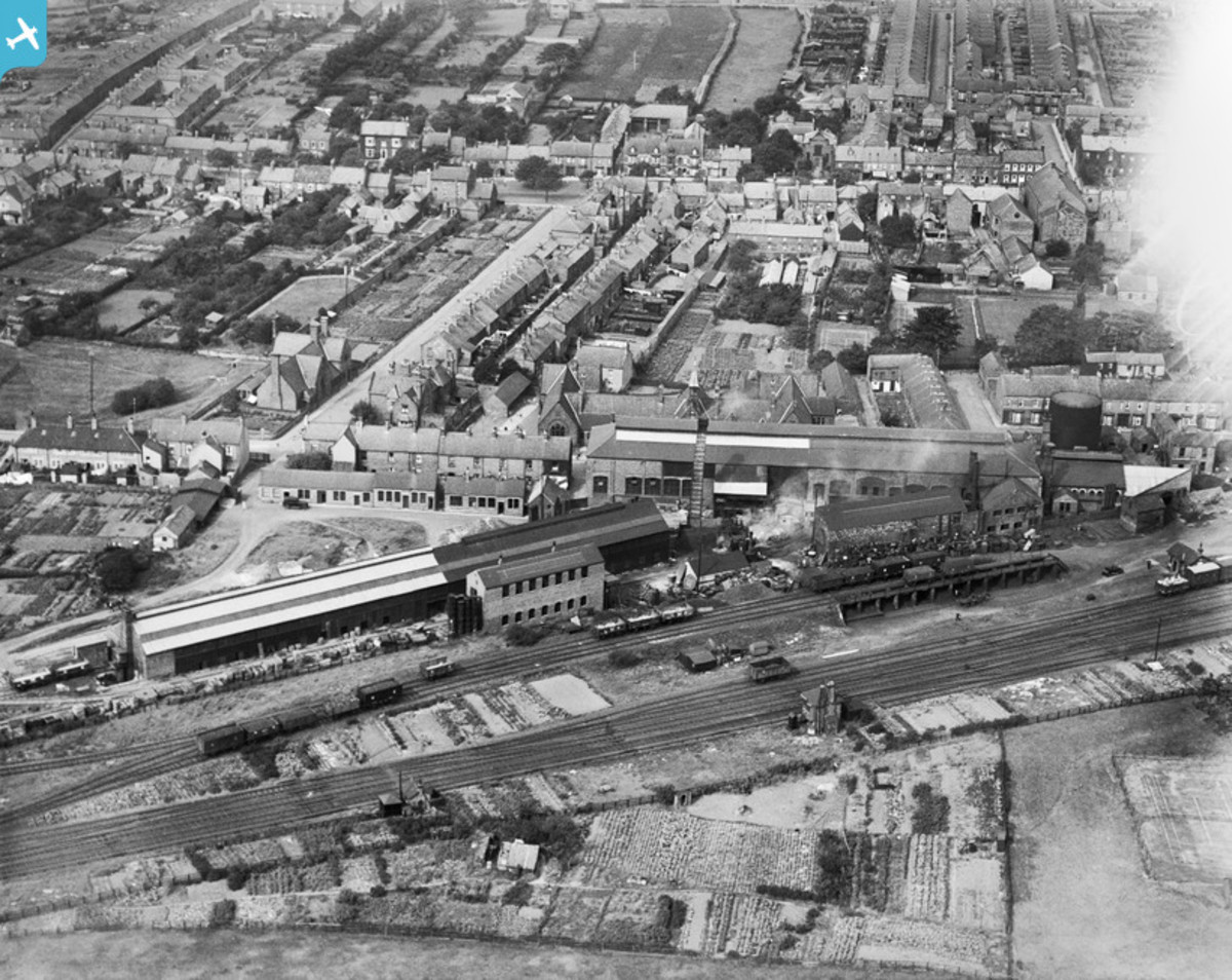 Aerial view of Guisborough Station and part of the town around Westgate. The market town still is at the heart of a network of roads that lead to Whitby, Middlesbrough, Saltburn, Stokesley and Redcar