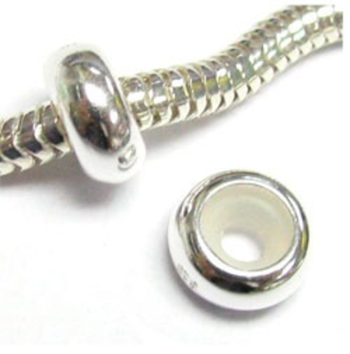 925 Sterling Silver Focal Round Stopper with Rubber Bead for Pandora from Amazon.