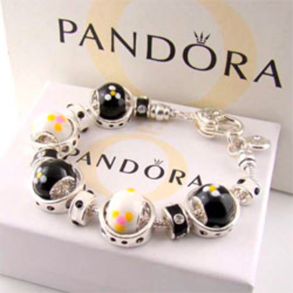 A beautiful, pre-adorned Pandora bracelet for sale.