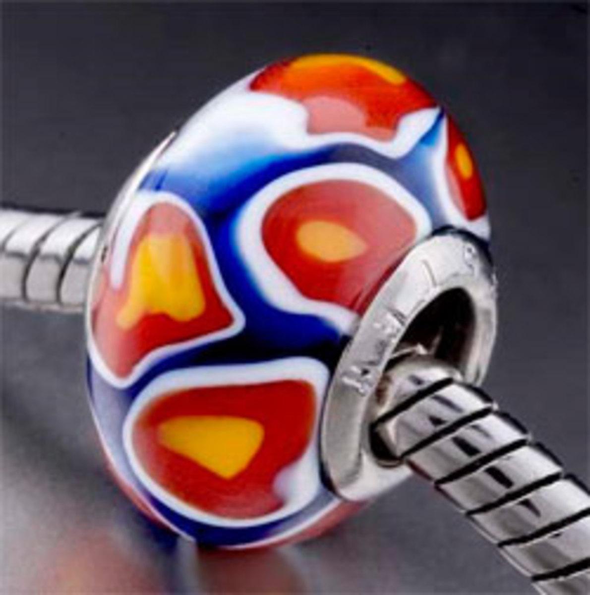 Buy Pandora beads online - like this handmade Murano glass bead from Amazon, created to fit a Pandora charm bracelet - stunning!