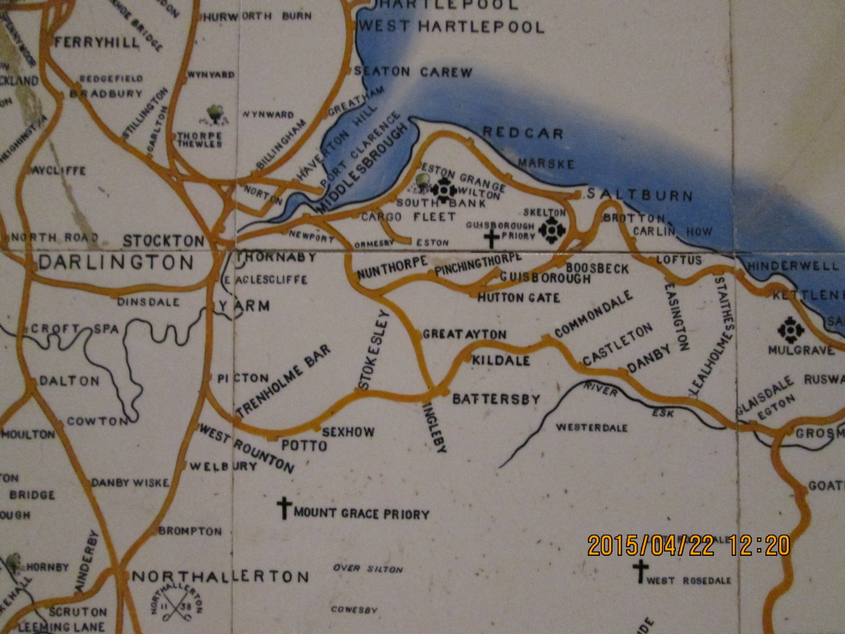 A corner of the tile map of the North Eastern Railway mounted on a wall of the National Railway Museum in York. It shows the network of lines around Middlesbrough, with Guisborough.in the centre