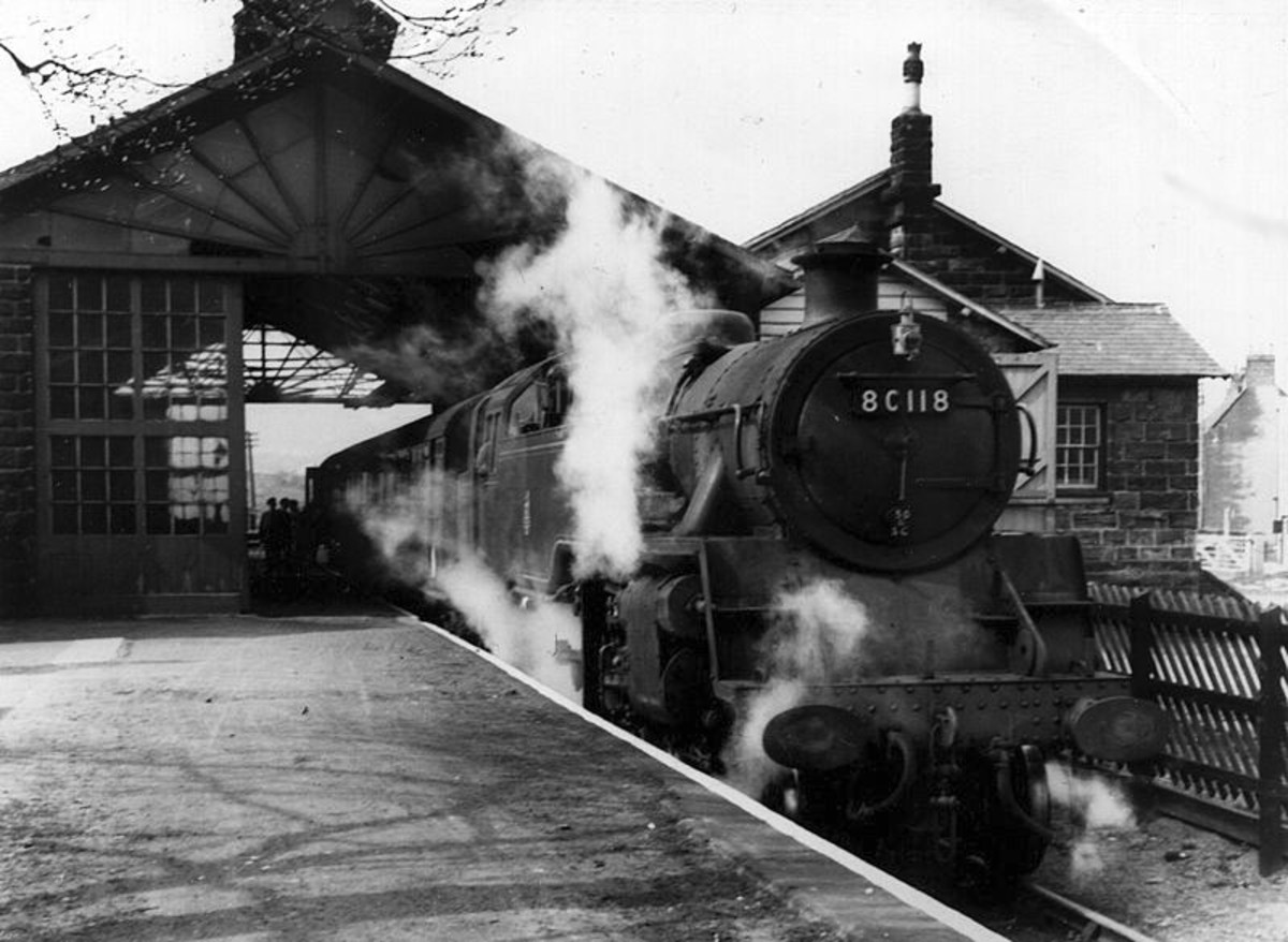 Standard class 4 Tank locomotive 80118 stands at Guisborough Station in the fifties. These engines were allocated to the region from the late 1950s, this engine being a Leeds Neville Hill engine in 1959