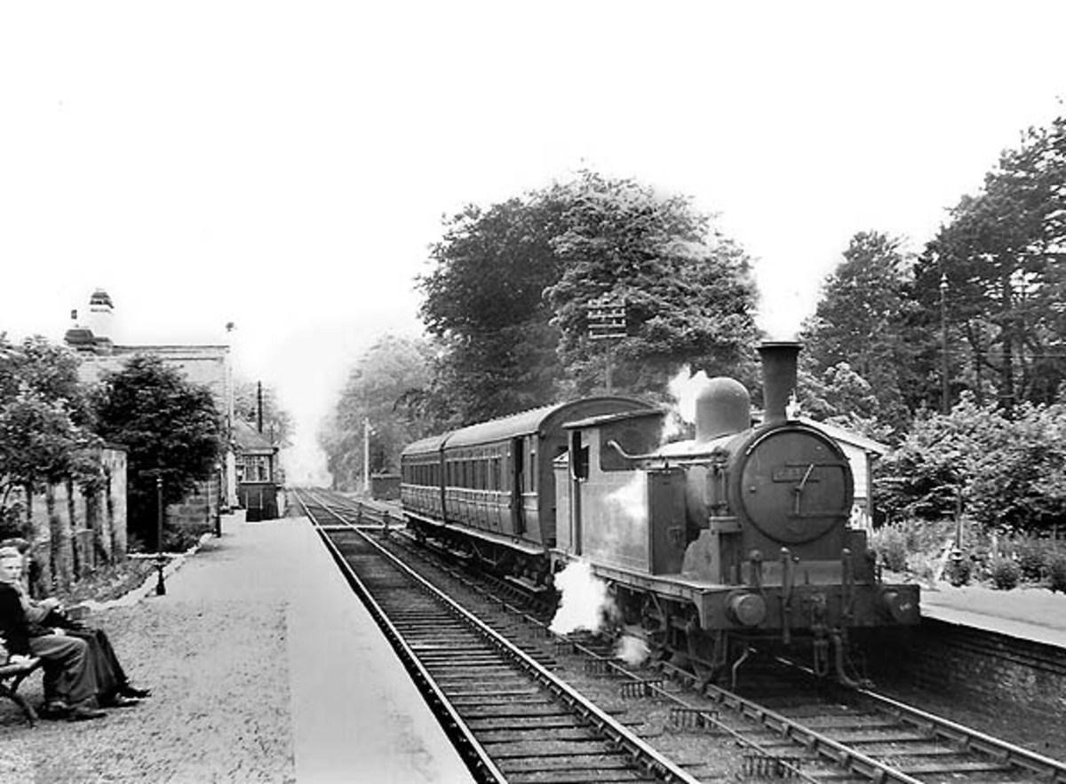 Eastbound Class G5 pulls into Hutton Gate Station with a two coach train of ex-North Eastern Railway non-corridor eliptical-roofed stock, the nearer being a brake 3rd - re-classified 2nd in BR days