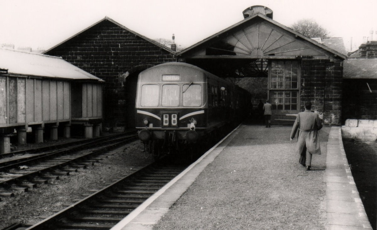 Motive power in the late 1950s. A diesel multiple unit (dmu) rests at Guisborough prior to returning to Middlesbrough. By closure all lines east of Guisborough had been closed to passengers, with only Hutton Gate and Pinchinthorpe open.