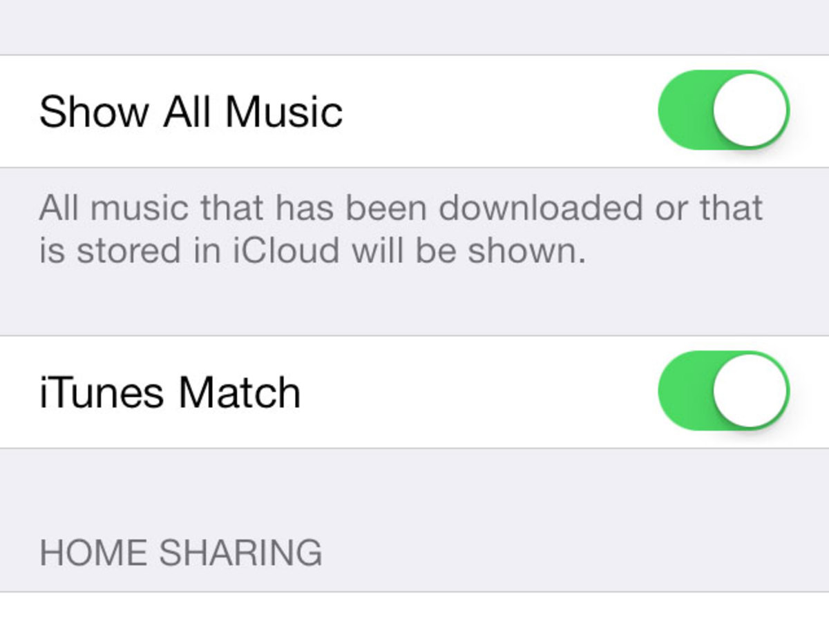 Activate iTunes match to show all music in your iPhone or iPad library even though it's not physically stored on your device.