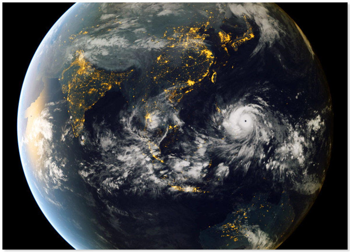 Incredible Satellite Image of Typhoon Haiyan swallowing the entire Philippine Archipelago in its path...