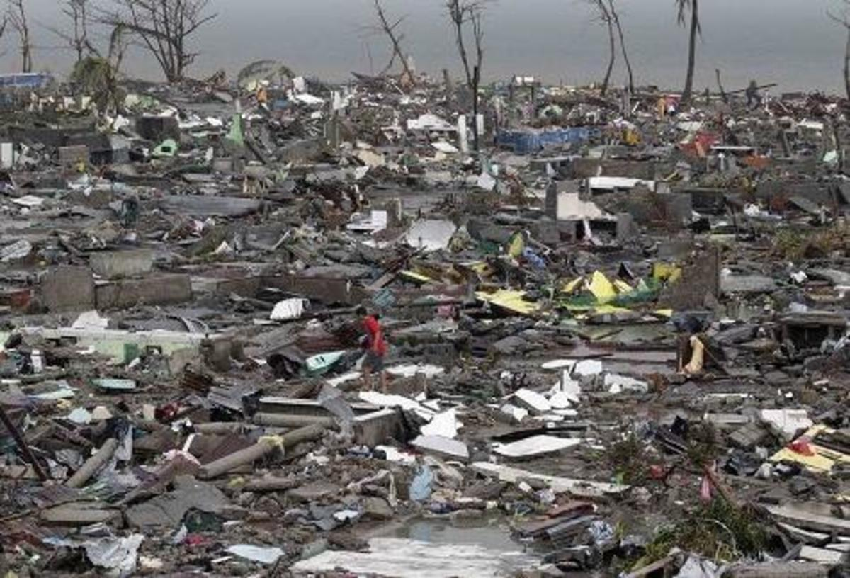 Super typhoon Yolanda/Haiyan wiped out 90% of the city of Tacloban in the Philippines...