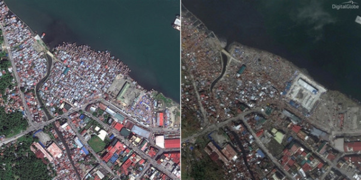 Satellite Images of Tacloban City before and after typhoon Yolanda surged...