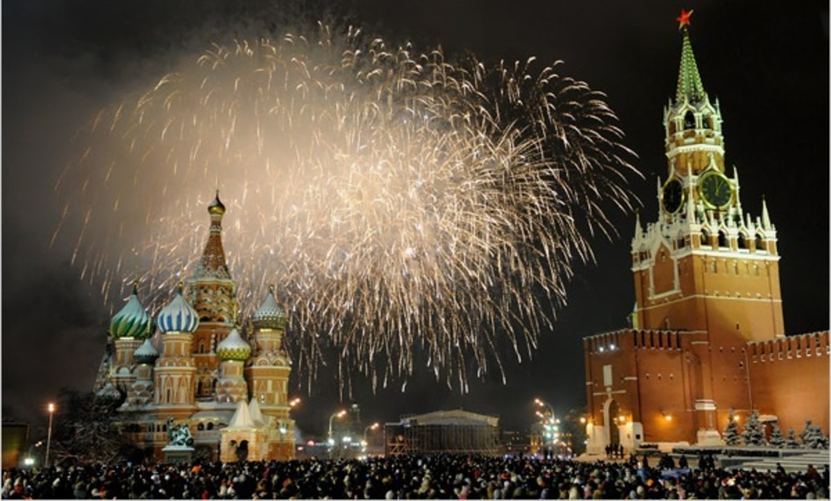 New Year's Eve Fireworks in Moscow