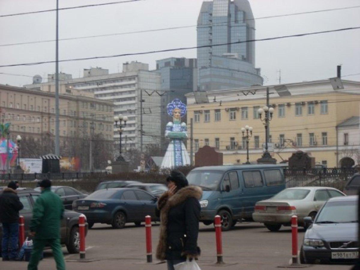 Inflatable Snow Girl Outside Kazansky Railway Station, Moscow, Russia