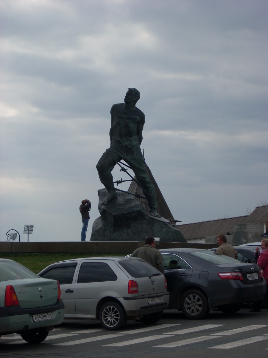 Statue of Musa Cälil at the entrance to the Kazan Kremline.  Musa Cälil was a poet and Tartar resitance fighter who was honored with many military awards for heroic actions in battle post-humously.