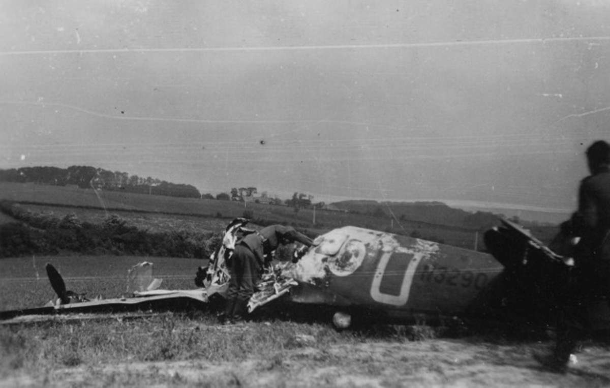 Squadron Leader Roger Bushell's spitfire after being shot down south of Dunkirk in 1940