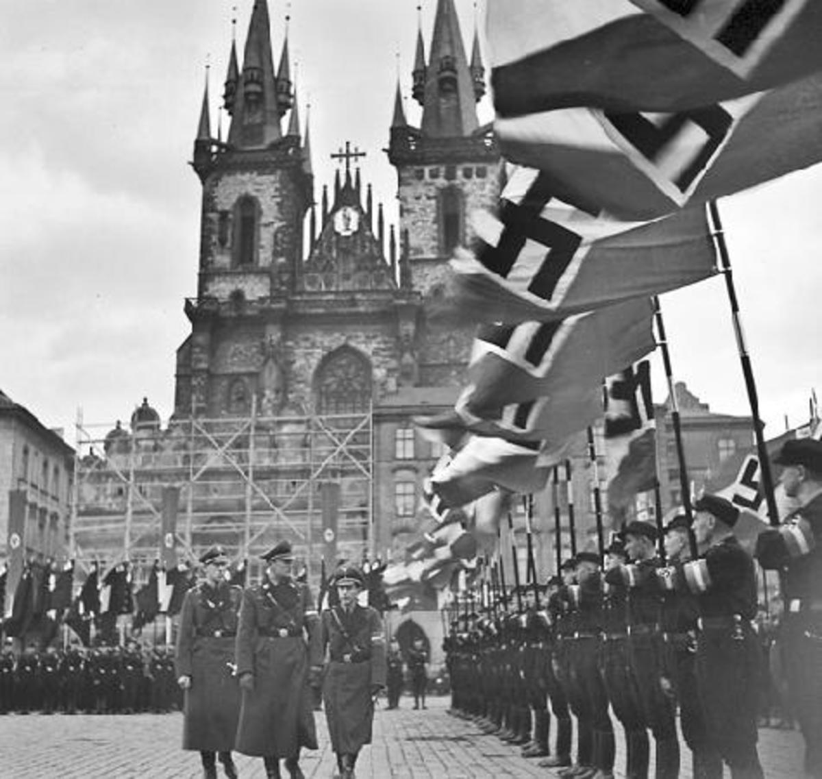 Wartime Prague, Germans on parade - civilians were obliged to look on at the pageants