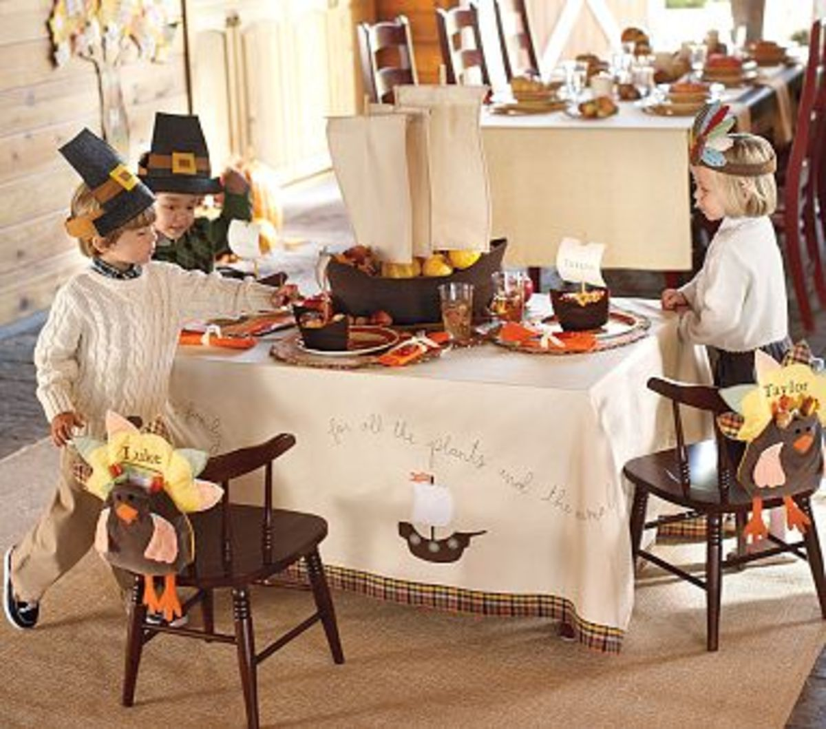 Setting the kids table for thanksgiving for Pottery barn thanksgiving